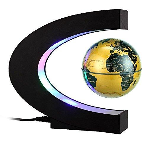 "Megadream Magnetic Levitation Floating World Map Globe w/ C Shape Base, 3"" Rotating Planet Earth Globe Ball Anti Gravity w/ LED Light Lamp for Educational Kids Home Office Desk Decoratio Gifts - Gold"
