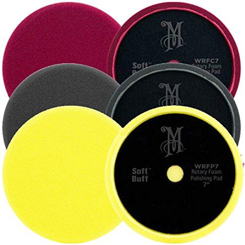 "Meguiars 7"" Professional Rotary Soft Buff Machine Polisher Foam Pads Set MT320"
