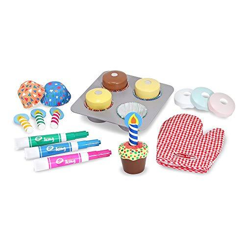 Melissa & Doug Bake and Decorate Cupcake Set (Pretend Play, colourful Wooden Play-Food Set, High-Quality Materials, 22 Pieces, 33.02 cm H x 26.416 cm W x 7.62 cm L)