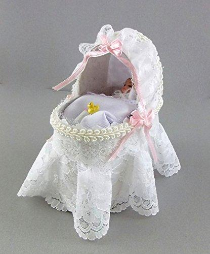 Melody Jane Dolls House White Lacy Baby Cradle Crib Miniature Reutter Nursery Furniture