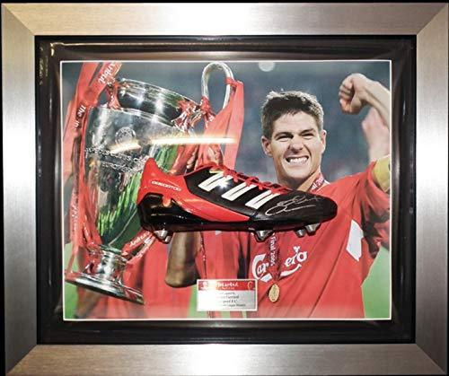 MemorabiliaOutlet Signed Steven Gerrard Framed Football Boot Liverpool Black/Red CL Boot