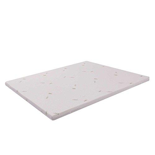 Memory Foam Mattress Overlay, Memory Foam, with Aloe Vera Lining, White, 160 x 200 cm