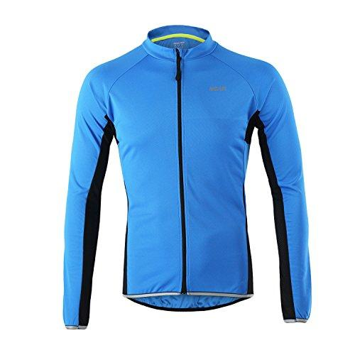 Men Cycling Jersey Long Sleeve Bike Bicycle Shirt with Pocket Refelctive Skin Jacket Slim Fitting Breathable Quick Dry Riding Running Outdoor Sportswear Blue 3XL