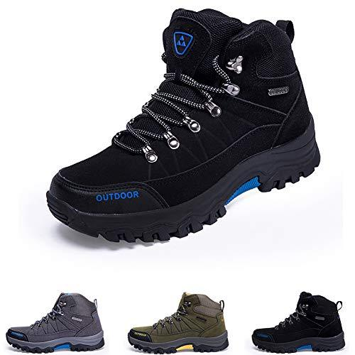 Men Hiking Shoes Breathable Boots Lightweight Outdoor Sneaker Lace-up Backpacking Shoes for Sport Walking Climbing Trekking Black 10.5 UK = 45 EU