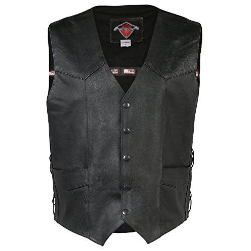 Mens Black Quality 4 Pocket Leather Motorcycle Biker Classic Waistcoat - S to 10XL