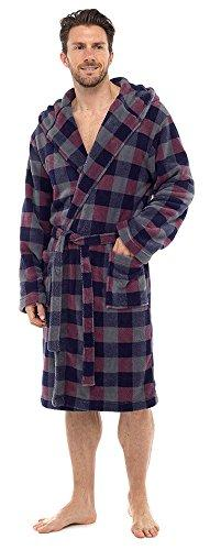 Mens Deluxe Luxury Dressing Gown Robe Bathrobe Soft Winter Warm Fleece Hooded (M/L, Red & Blue Check HT041)