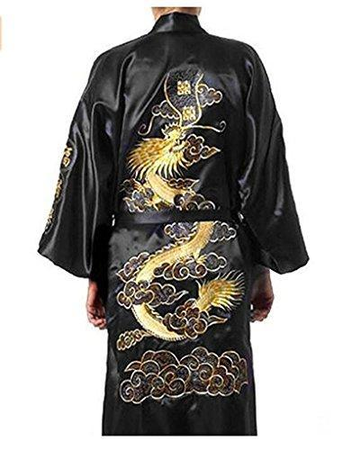 Men's Dressing Gown Bathrobe Satin Silk Bath Robe Kimono Gown Dragon Embroidery Yukata Hakma Vintage