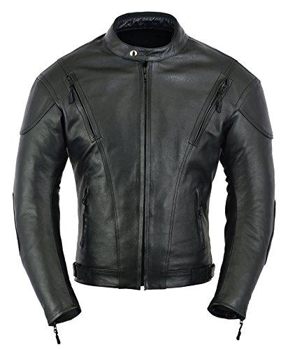 Mens Impact Leather Motorcycle Motorbike Protection Jacket, M