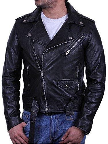 Mens Real Leather Jacket Biker Style Vintage Black Zipped Pockets Casual Fitted Brando S-5XL (lage)