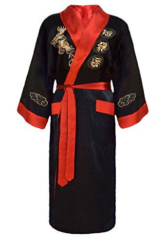 Men's Reversible Embroidered Japanese Kimono Robe Sleepwear Dressing Gown - Black and Red - size: S