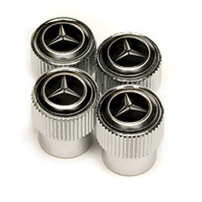 Mercedes-Benz Black Logo Chrome Tire Stem Valve Caps