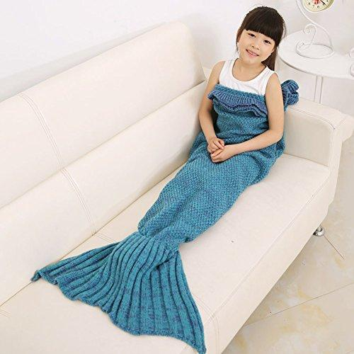 Mermaid Tail Blanket for Kids, Toddler Polyester Crochet Knitting Sleeping Bag Blanket, Soft Warm and Cozy in Sofa Bed (Kid Size Lake blue 53 * 25.5 inch )