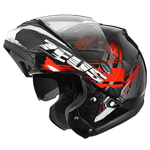 MERRYHE PRO Unisex Carbon Fiber Motorcycle Modular/Full Face Helmets Double Lenses Motocross Flip-up Helmet For Off-road,Red-L(57-58cm)