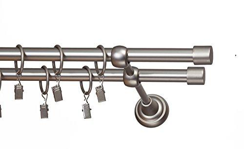 METAL DOUBLE CURTAIN POLE, 16MM DIAMETER, SET, SATIN CHROME EFFECT, LUNA 360 cm