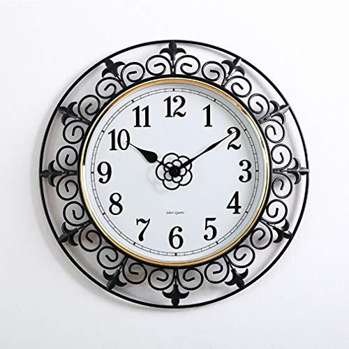 Metal Wall Clock Vintage Retro Wall Watch Silent Non Ticking Nostalgic Wrought Iron Numeral Decorative Clock for Living Room Bedroom Kitchen Office Ornament (Without Battery),c