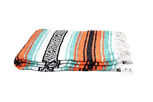 Mexican Style Picnic Blanket - Mint, Orange & Black - Beach Blanket / Yoga Blanket / Mexican Blanket Decorative Home Throw