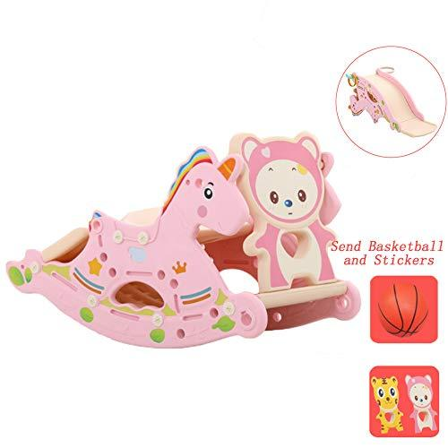 Mhxzkhl Baby Rocking Horse Slide Combination, Suitable For 0-6 Years Old Baby,Kids Plastic Toy Basketball Indoor Outdoor Animal Rocker Toy/Infant Rocking Horse,1