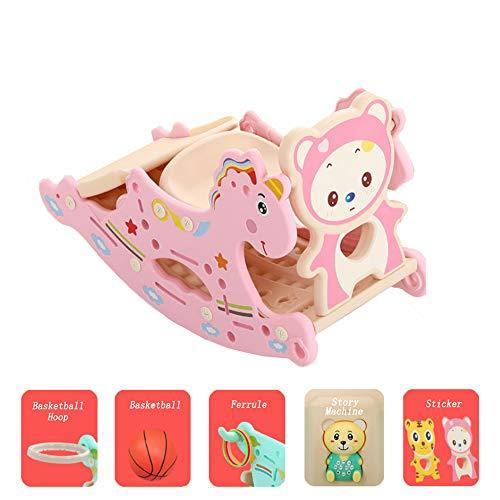 Mhxzkhl Baby Rocking Horse Slide Combination, Suitable For 0-6 Years Old Baby,Kids Plastic Toy Basketball Indoor Outdoor Animal Rocker Toy/Infant Rocking Horse,7