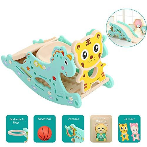 Mhxzkhl Baby Rocking Horse Slide Combination, Suitable For 0-6 Years Old Baby,Kids Plastic Toy Basketball Indoor Outdoor Animal Rocker Toy/Infant Rocking Horse,8