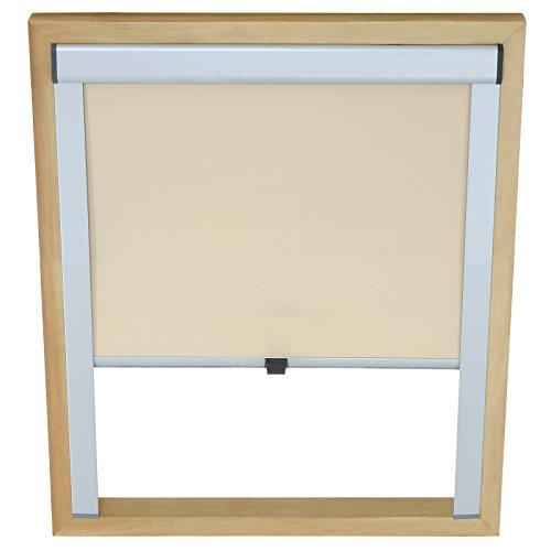 Miadomodo® Roof Window Blind (18 sizes) Easy Fit Roller Blinds (Beige, 97.3/74/5 cm / 38.3/29.13/1.97 in)