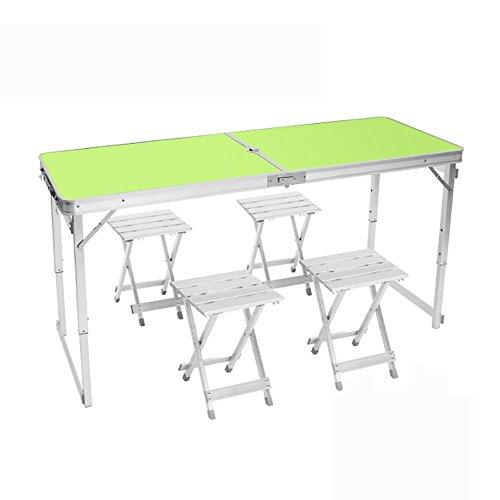 MIAO Outdoor Portable Simple Aluminum Alloy Lengthened 150cm * 60cm Folding Tables and Chairs Including table * 1 and stool * 4 , green