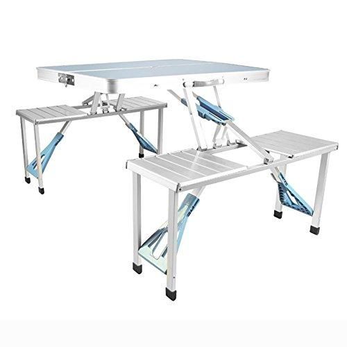 MiaoMiao MIAO Outdoor Simple Box Type Aluminum Alloy 86cm * 67cm Conjoined Folding Tables and Chairs, Silver