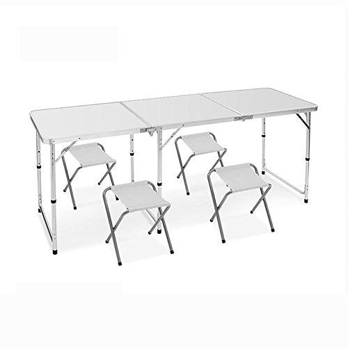 MiaoMiao MIAO Outdoor Simple Portable Lengthening 180cm * 60cm Aluminum Alloy Picnic Folding Tables and Chairs, white