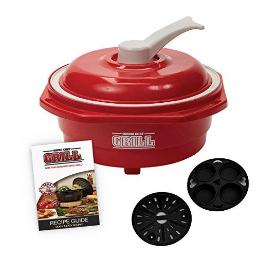 Micro Chef Grill Deluxe, 6-in-1 Microwave Cooking Pot, Grill, Sear, Sauté, Roast, Steam, Bake, Non-Stick Fast & Easy (As Seen on High Street TV) (Red)