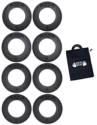 Micro Gainz 2.0 Olympic Fractional Weight Plate Set of .25LB - .50LB - .75LB - 1LB Plates (8 Plate Set) - Designed for Olympic Barbells, Used for Strength Training and Micro Loading w/Carrying Bag