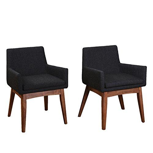 Midtown Concept Tifanny Mid-Century 2Piece Living Room Dining Chair Set, Liqurice Textile