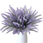 MIHOUNION 8Pcs Artificial Lavender Flowers Wedding Bouquets Fake Floral Arrangements for Home Kitchen Garden Bedroom Table Decorations