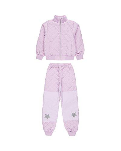 MIKK-Line - Melton Kids & Baby Quilted Thermoset Fleece Lined Top & Bottom Snow Set, Violet, 5-6Y