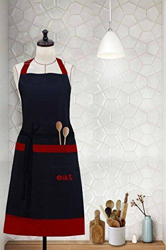"Milano Home ""Eat"" Embroidered Cotton Apron With Adjustable Neck & Centre Pockets, Perfect For Cooking, Bbq, Baking, 27.5 Inches In Width And 32 Inches Full In Length - Red"