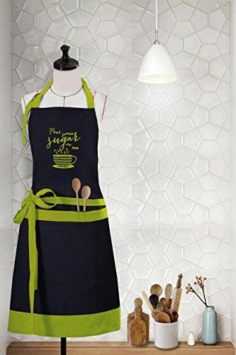 "Milano Home ""Pour Some Sugar On Me"" Embroidered Cotton Apron With Adjustable Neck & Centre Pockets, Perfect For Cooking, Bbq, Baking, 27.5 Inches In Width And 32 Inches Full In Length - Green"