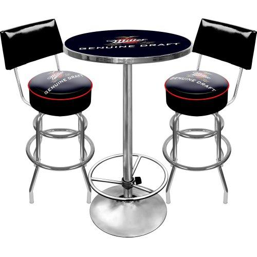 Miller Genuine Draft Ultimate Gameroom Combo - 2 Bar Stools with Back & Pub Table