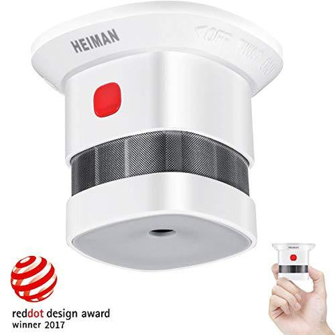 Mini Smoke Alarm Detector, 10-Year Battery Life(Battery Included),Reddot Award,CE Certified, Independent Photoelectric Fire Detector for Home/Store/Company/School-HS1SA