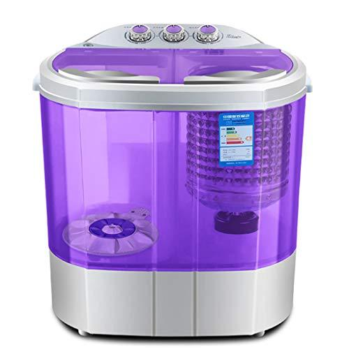 Mini Washing Machine Portable Spin Dryer Compact Clothes Washer 2.2KG Washing Capacity Semi-automatic Double Barrel Travel Household Easy To Move (Color : PURPLE)