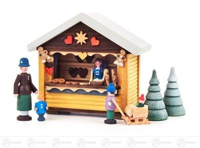 Miniature Christmas baker barrack with 4 figures and 2 small trees (7) height of approx. 9 cm Erzgebirge Christmas figure wood figure