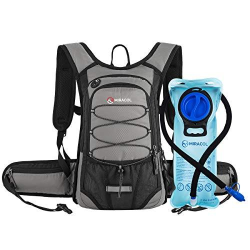 Miracol Hydration Backpack with 2L Water Bladder, Thermal Insulation Pack Keeps Liquid Cool up to 4 Hours, Prefect Outdoor Gear for Skiing, Running, Hiking, Cycling (Light Grey)