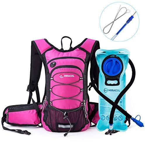 Miracol Insulated Hydration Backpack Pack with 2L BPA Free water bladder and Long Tube Brush, Prefect Outdoor Gear for Hiking, Running, Camping, Cycling , Fits men, women, kids, children, Rose