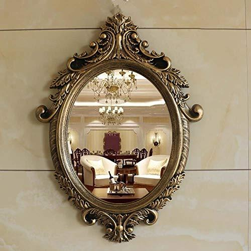 Mirror Bathroom Wall mount Metal frame Vintage decorative Dressing table Makeup Brushed gold Multiple shapes and colors