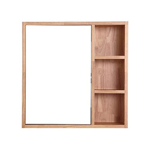 Mirror Cabinets space aluminum 60 * 60cm 80 * 60cm wood color wall bathroom mirror with shelf simple bathroom cabinet wall Wall-Mounted Vanity M