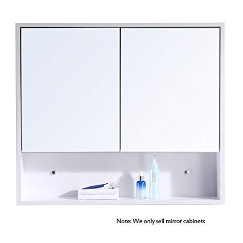 Mirror Cabinets wooden 60-100 * 70cm wood color white wall hanging bathroom bathroom mirror with shelf simple bathroom cabine