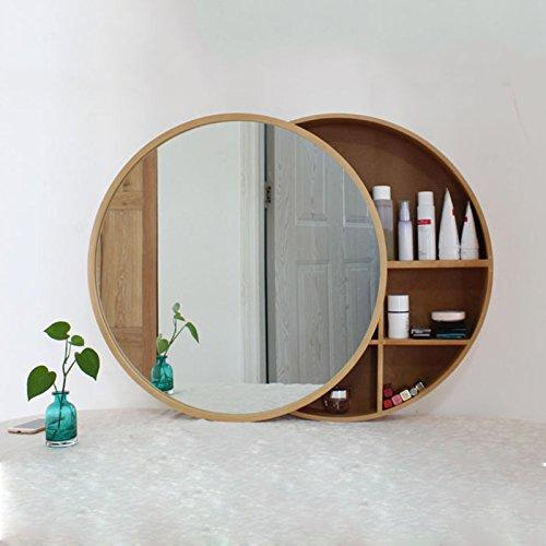Mirror Health UK 50cm Round Wooden Bathroom Waterproof Toilet Wall Hanging With Shelf Storage Cabinet Welcome (Color : B)