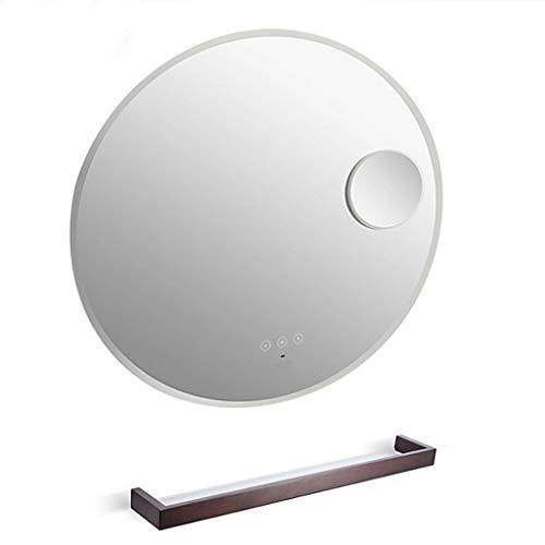 Mirror- LED Mirror Round Wall Mount Lighted Mirror Bathroom Bedroom Home Furniture Illuminated Vanity Make Up Lamp Wall Mounted Mirror With Touch Button Welcome (color : Bathroom mirror+shelf)