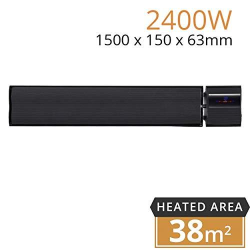 Mirrorstone Black 2400w Helios Remote Controllable Infrared Bar Heater For Indoor Outdoor Office Warehouse Patio Conservatory