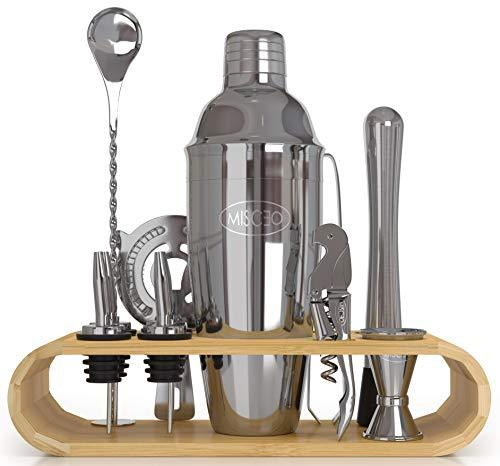MISCEO 12pcs Professional Bartender Cocktail Mixer Set and Bar Accessories. Barmans Kit Includes Manhattan Shaker, Measuring Jigger, Muddler, Strainer, Mixing Spoon, bamboo stand, Recipes eBook