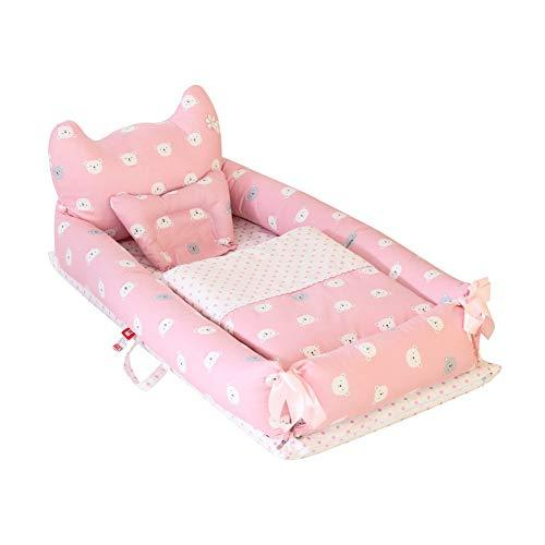 Miyanuby Baby Nest | Bear Cotton Baby Bassinet Lounger Cribs | Portable Baby Cot Bed | Detachable Baby Cocoon Sleeping Pod | Great for Sleeping and Traveling | Baby Bed + Blanket + Pillow Pack-3PCS