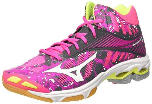 Mizuno Women's Wave Lightning Z4 MID WOS Volleyball Shoes, Pink (PinkGlo/White/IronGate 90), 8