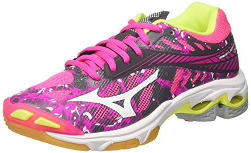 Mizuno Women's Wave Lightning Z4 WOS Volleyball Shoes, Pink (PinkGlo/White/IronGate 90), 3.5-4